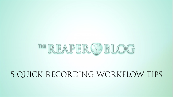 5 quick tips for recording workflow in reaper. Black Bedroom Furniture Sets. Home Design Ideas